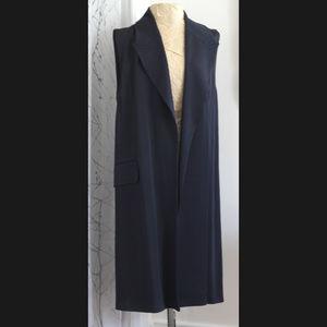 Zara Navy Blue Long Button Back Vest